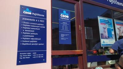 Označení pobočky ČSOB Pojišťovny v Plzni
